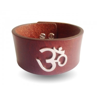 Wide Leather Band Om Bracelet